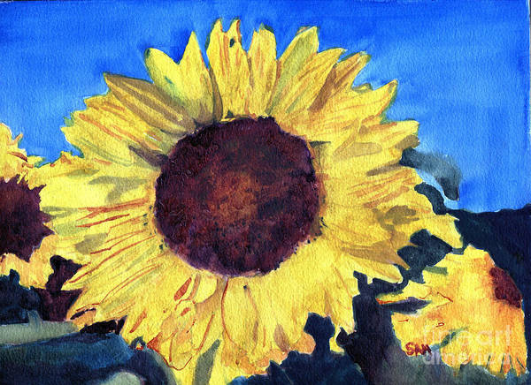 Sunflower Poster featuring the painting Golden Sunflower by Sandy McIntire