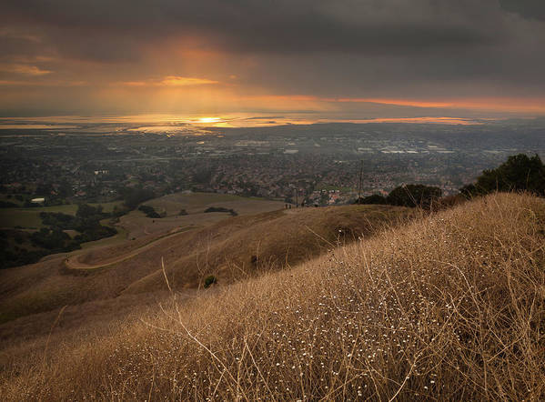 Horizontal Poster featuring the photograph Golden Sunset Over San Francisco Bay by Sean Duan