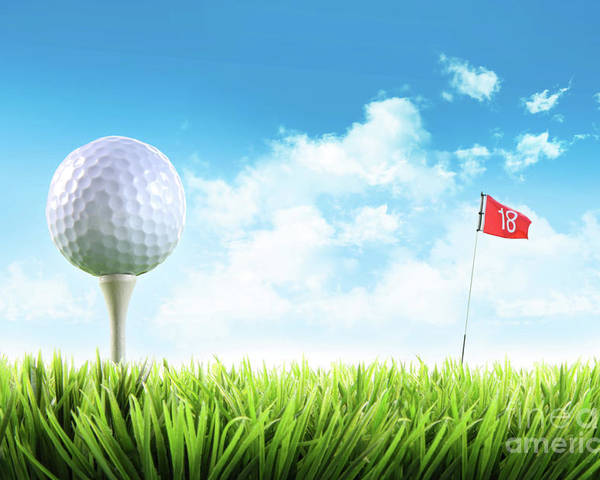 Active Poster featuring the photograph Golf Ball With Tee In The Grass by Sandra Cunningham