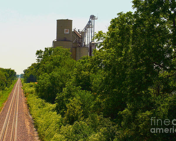 Grain Bin Poster featuring the photograph Grain Processing Facility In Shirley Illinois 5 by Alan Look
