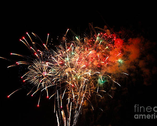 Fire Works Poster featuring the photograph Grand Haven Mi Fireworks by Robert Pearson