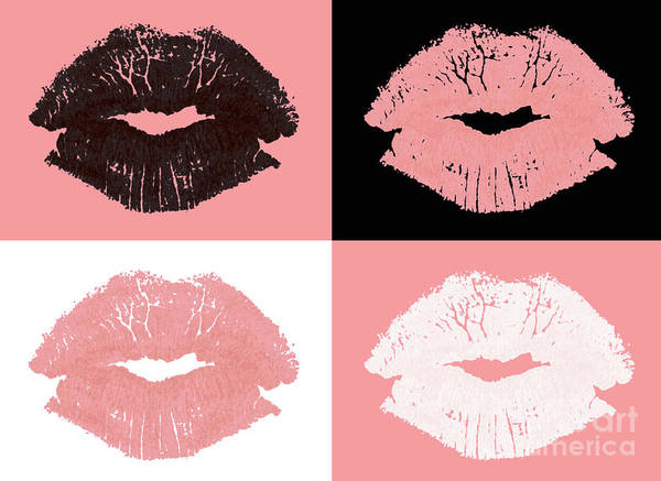 Lips Poster featuring the photograph Graphic Lipstick Kisses by Blink Images