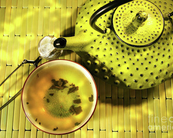 Asia Poster featuring the photograph Green Asian Teapot With Cup by Sandra Cunningham