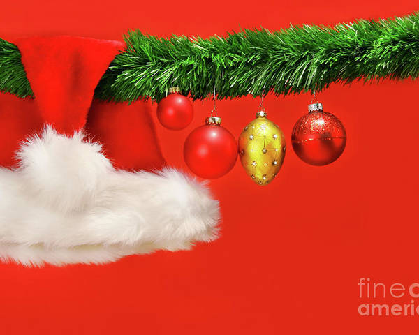 Background Poster featuring the photograph Green Garland With Santa Hat And Ornaments by Sandra Cunningham