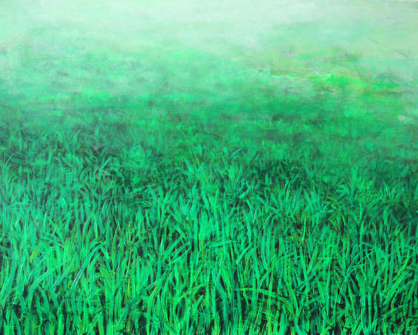 Abstract Poster featuring the painting Green Grass by Lolita Bronzini