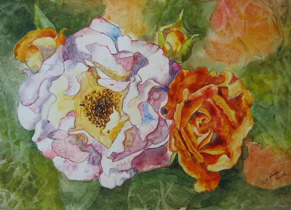 Close Focus Floral Poster featuring the painting Green Ice by Patsy Sharpe