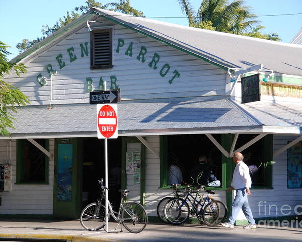 Key West Poster featuring the photograph Green Parrot Bar In Key West by Susanne Van Hulst