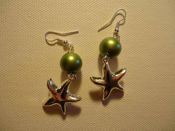 Greenworldalaska Poster featuring the photograph Green Starfish Earrings by Jenna Green