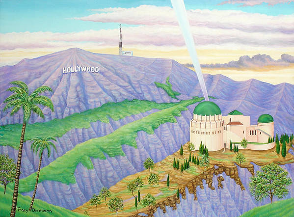 Hollywood Sign Poster featuring the painting Griffith Observatory by Tracy Dennison