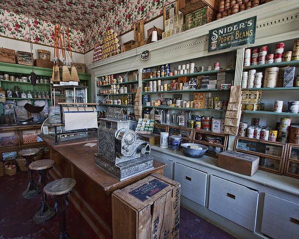 general Store Poster featuring the photograph Grocery Store Of Yesteryear - Virginia City Montana Ghost Town by Daniel Hagerman