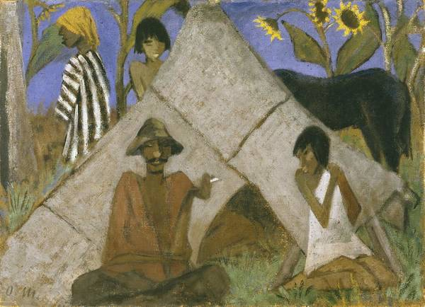 Gypsy Poster featuring the painting Gypsy Encampment by Otto Muller or Mueller