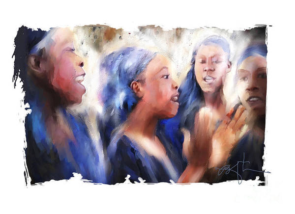 Girls Poster featuring the painting Haitian Chorus Singers by Bob Salo