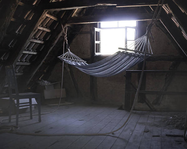 Hammock Poster featuring the photograph Hammock In The Attic by Karin Haas