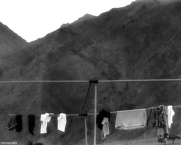 Sinai Peninsula Poster featuring the photograph Hanged Laundry by Isaac Silman