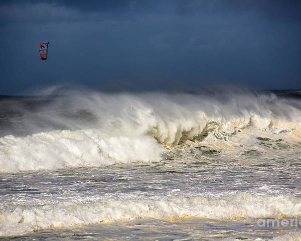 Kite Surfer Poster featuring the photograph Hanging in there by Sheila Smart Fine Art Photography