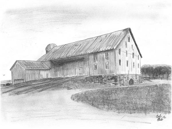 Barn Poster featuring the drawing Hanover Barn 1 by Carl Muller