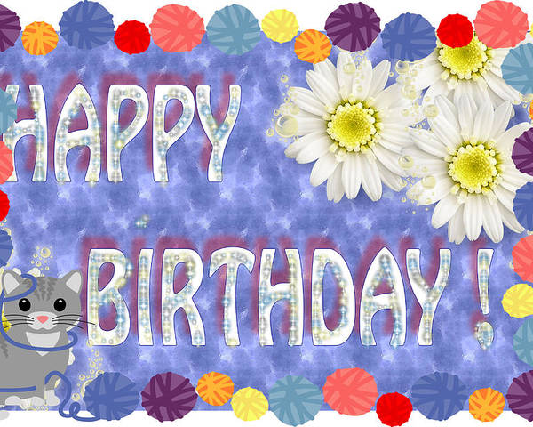 Greeting Card Poster Featuring The Digital Art Happy Birthday Wish By Ronel Broderick