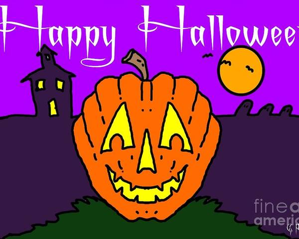 Happy Poster featuring the painting Happy Halloween 2 by George Pedro