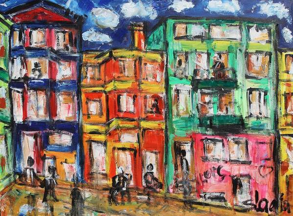 Cities Poster featuring the painting Happy Street by Sladjana Lazarevic