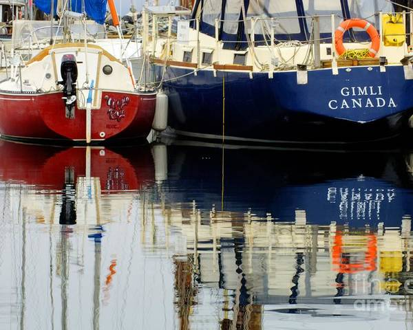 Fishing Boats Poster featuring the photograph Harbor Reflections by Bob Christopher