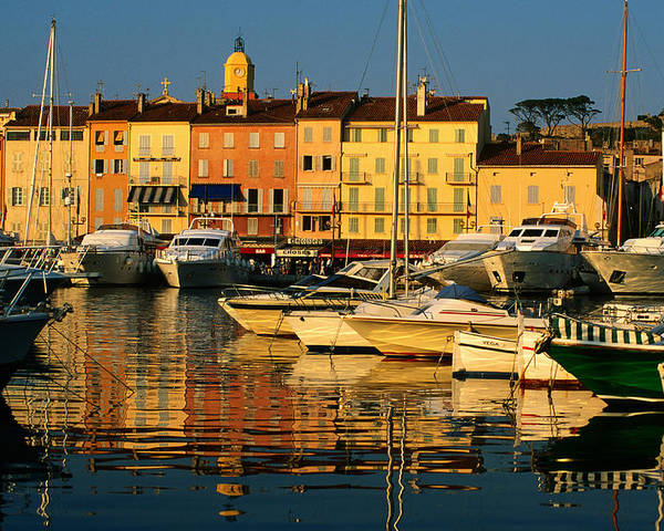 Horizontal Poster featuring the photograph Harbour Boats And Waterfront Houses, St Tropez, Provence-alpes-cote D'azur, France, Europe by David Tomlinson