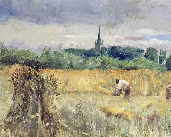 Harvest Field Poster featuring the painting Harvest Field At Stratford Upon Avon by John William Inchbold