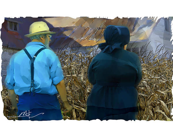 Farm Poster featuring the painting Harvesting The Corn by Bob Salo