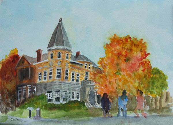 Haskell Free Library Poster featuring the painting Haskell Free Library In Autumn by Donna Walsh