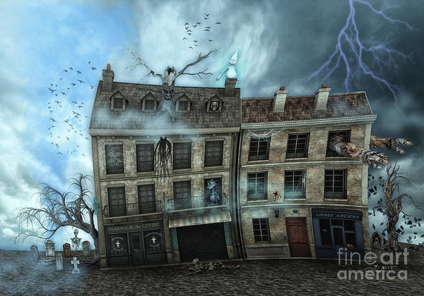 3d Poster featuring the digital art Haunted House by Jutta Maria Pusl