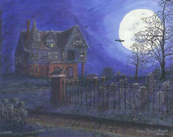 Haunted House Poster featuring the painting Haunted House by Lori Theim-Busch