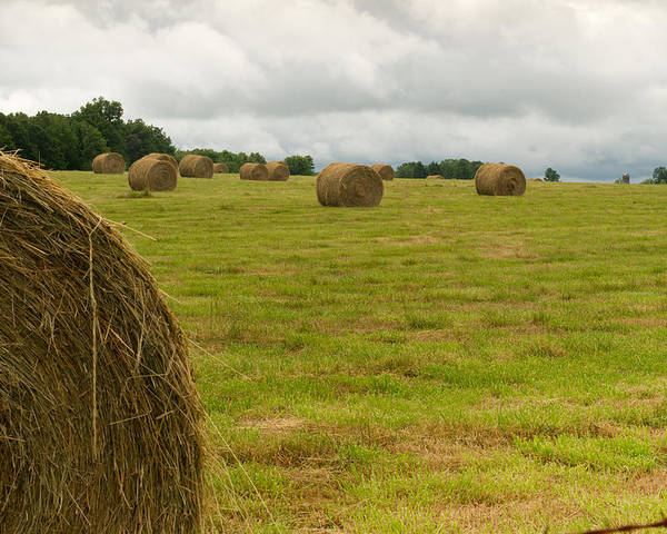 Haybales Poster featuring the photograph Haybales In Field On Stormy Day by Douglas Barnett