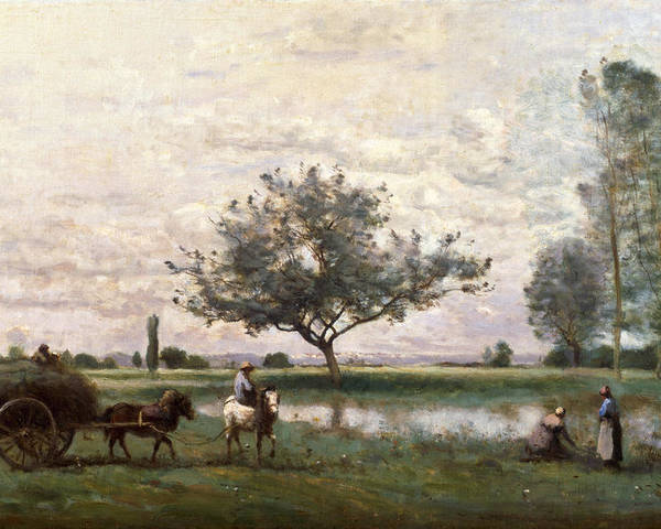 Haycart Poster featuring the painting Haycart Beside A River by Jean Baptiste Camille Corot