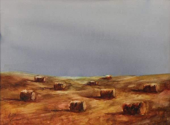Bales Poster featuring the painting Hayfield by Ruth Kamenev