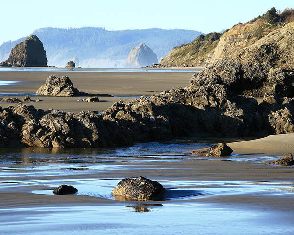 Oregon Coast Poster featuring the photograph Haystack Rock From Arcadia Beach by Steven A Bash