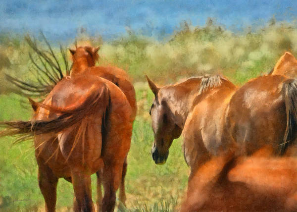 Horse Poster featuring the digital art Heading Home Painterly by Ernie Echols