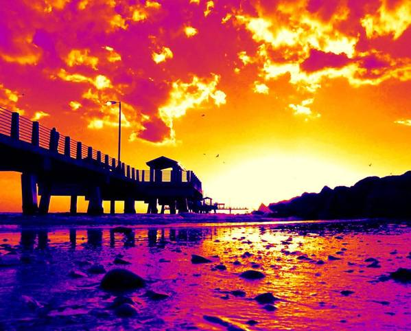Pier Poster featuring the digital art Heat Wave Sunset by Laura Holt