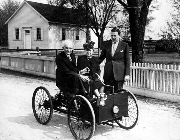 Automobile Poster featuring the photograph Henry Ford In His First Automobile by Everett