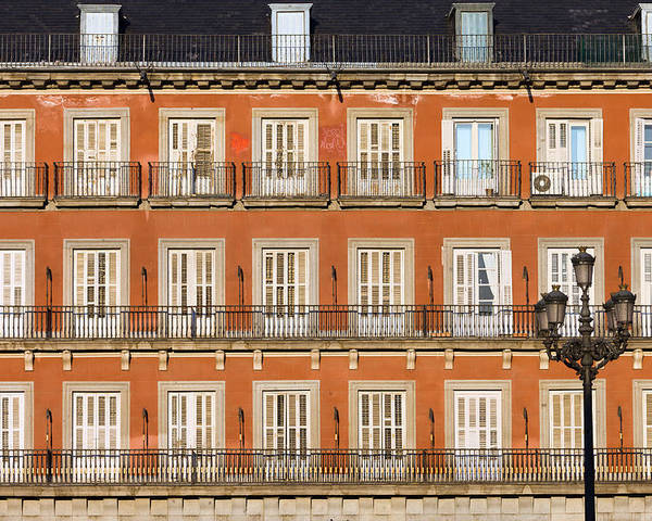 Facade Poster featuring the photograph Historic Facade At Plaza Mayor In Madrid by Artur Bogacki