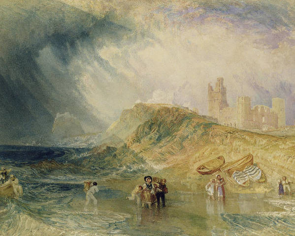 Sea; Coast; Coastal; Crossing; Inlet; Fishing; Boats; Beach; Landing; Boat; Disembarking; Shore Poster featuring the painting Holy Island - Northumberland by Joseph Mallord William Turner