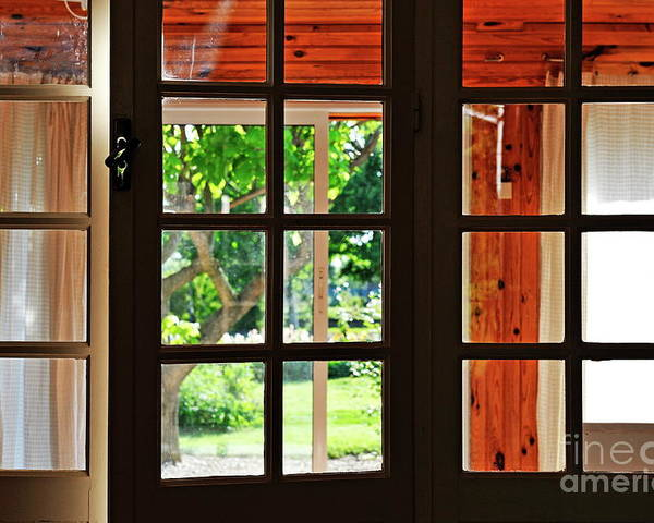 Horizontal Poster featuring the photograph Home Garden Through Window by Sami Sarkis