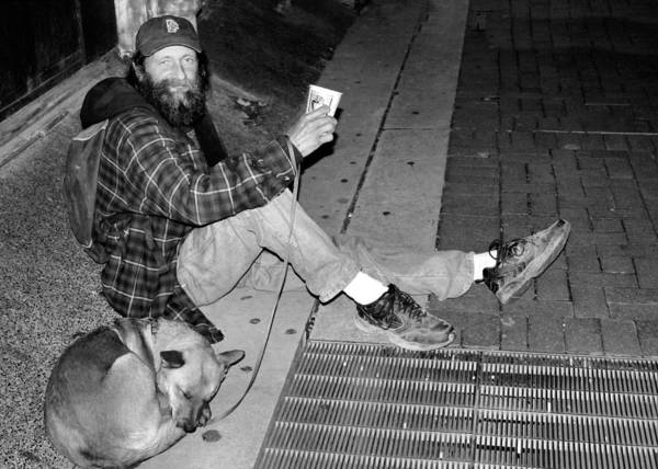 Homeless Poster featuring the photograph Homeless With Faithful Companion by Kristin Elmquist