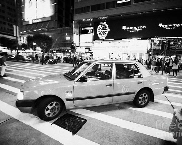 Hong Kong Poster featuring the photograph Hong Kong Red Taxi At Night On Nathan Road Downtown Kowloon Hong Kong Hksar China by Joe Fox