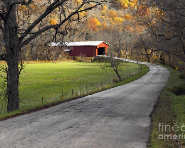 Digital Poster featuring the photograph Hoosier Autumn - D007843a by Daniel Dempster