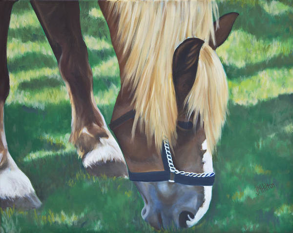 Horse Poster featuring the painting Horse Grazing by Judy Hilton