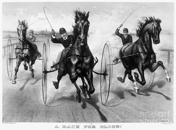 1890 Poster featuring the photograph Horse Racing, 1890 by Granger