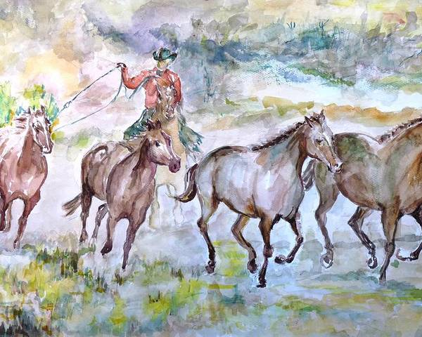 Poster featuring the painting Horsemen by Baruch Neria-Kandel