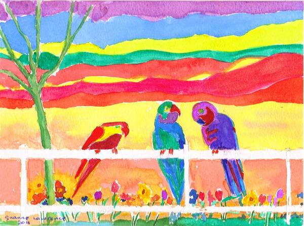 Parrots Poster featuring the painting Hot Gossip by Susanne Lawrence BA Hons