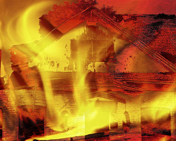Home Poster featuring the photograph House Fire Illustration 2 by Steve Ohlsen