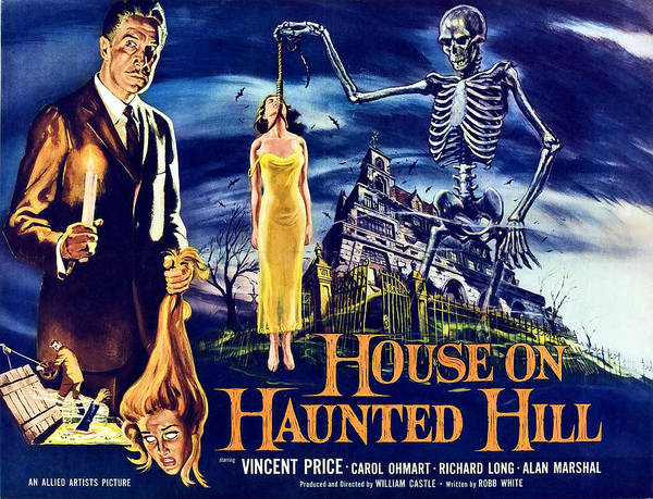 1950s Poster Art Poster featuring the photograph House On Haunted Hill, Left Vincent by Everett