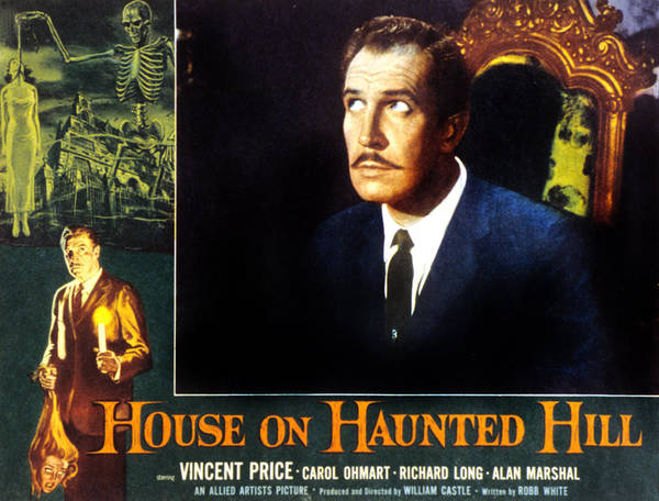 1950s Poster Art Poster featuring the photograph House On Haunted Hill, Vincent Price by Everett